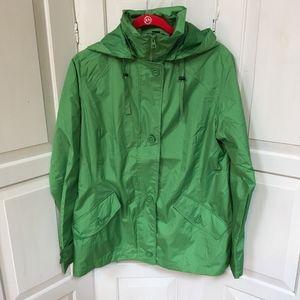 NWOT Lands' End Green Windbreaker Jacket Med.